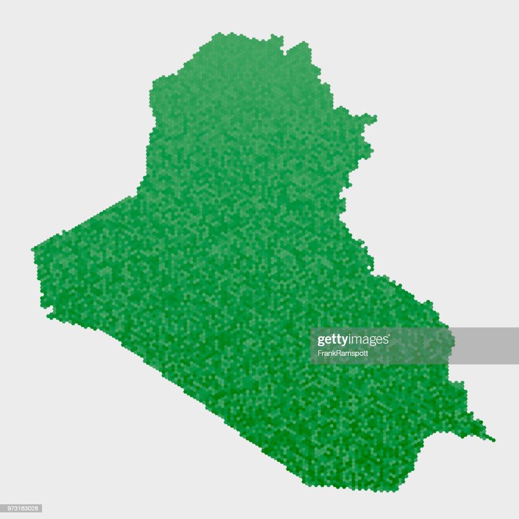 Irak-Land-Map-grünen Sechseck-Muster : Vektorgrafik