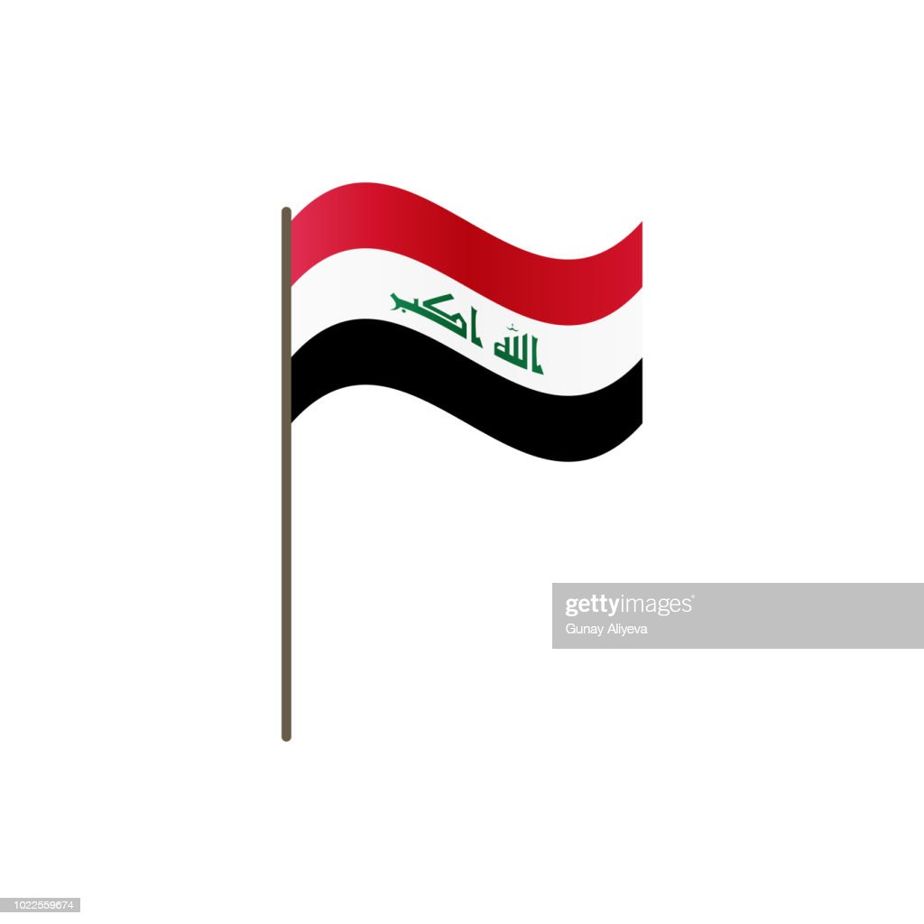 Iraq flag on the flagpole. Official colors and proportion correctly. Waving of Iraq flag on flagpole, vector illustration isolate