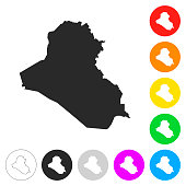 Iraq map - Flat icons on different color buttons