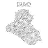 Iraq map hand drawn on white background