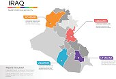Iraq map infographics vector template with regions and pointer marks