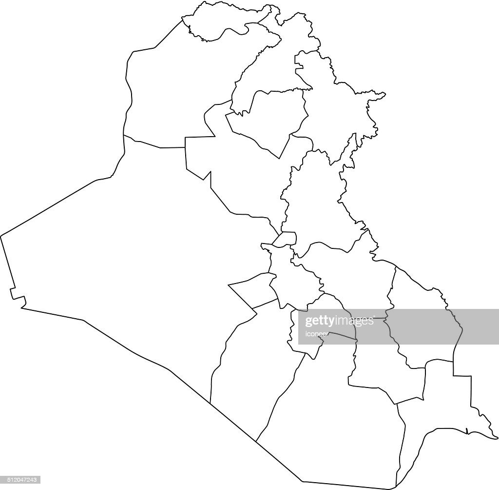 Iraq Map Outline White Background Vector Art Getty Images