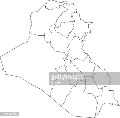 Iraq Map Hand Drawn On White Background Vector Art Getty Images - Iraq map outline