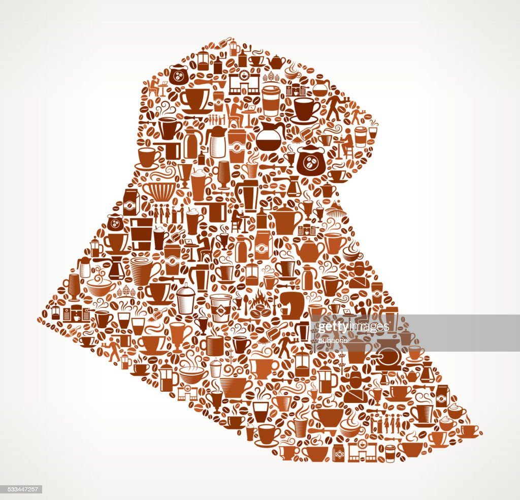 Iraq Map Royalty Free Vector Coffee Background Graphic Vector Art