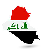 Iraq Map with flag isolated on white