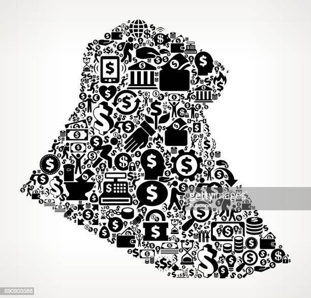 Iraq Money and Finance Black and White Icon Background