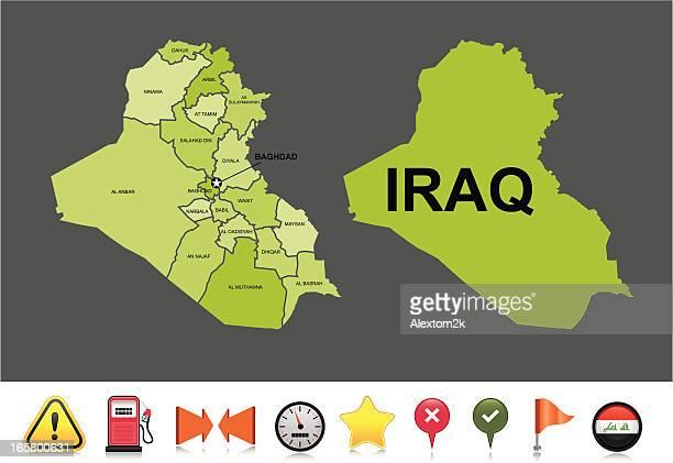 iraq navigation map - concepts & topics stock illustrations