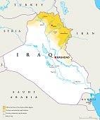 Iraqi Kurdistan Region political map