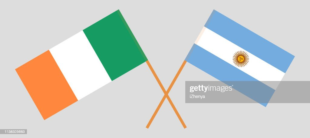 Ireland and Argentina. The Irish and Argentinean flags. Official colors. Correct proportion. Vector