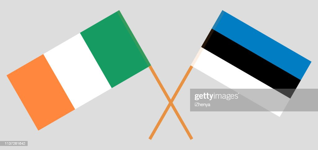 Ireland and Estonia. The Irish and Estonian flags. Official colors. Correct proportion. Vector