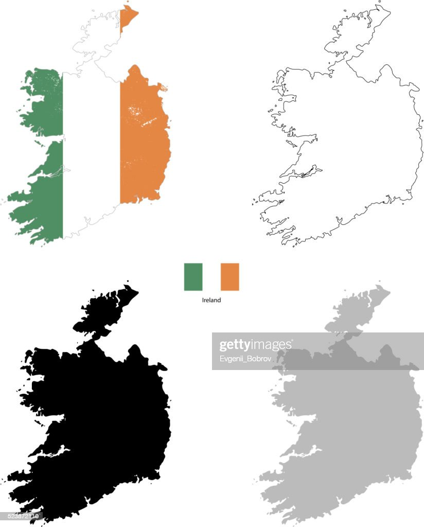 Ireland country black silhouette and with flag on background