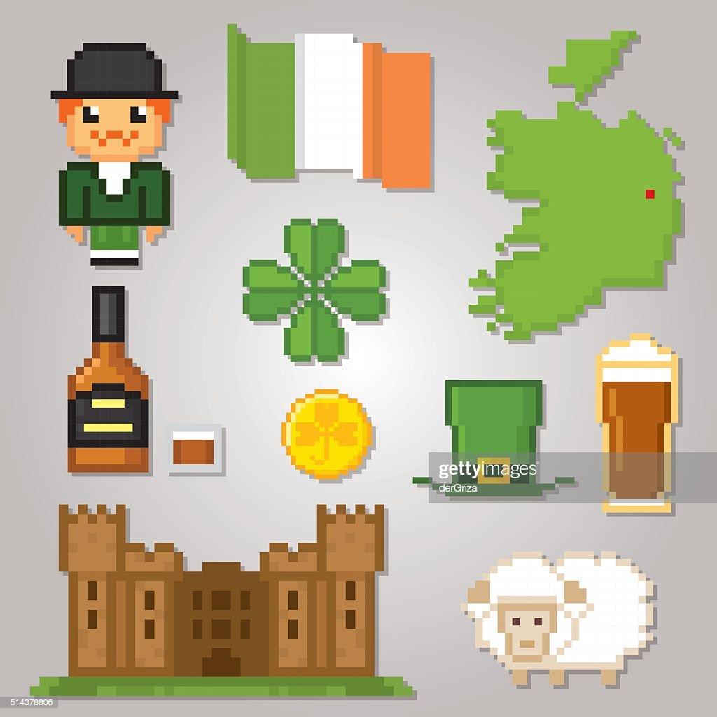 Ireland culture symbols icons set pixel art old school computer ireland culture symbols icons set pixel art old school computer vector art buycottarizona Image collections