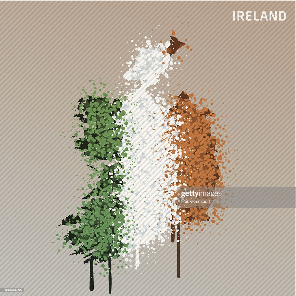 Ireland Flag Color Paint Graffiti Map Grunge : Stock Illustration