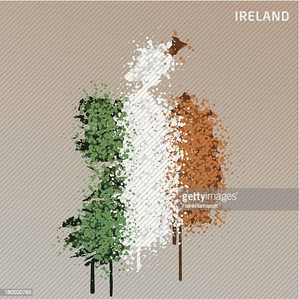 Irland Flagge Farbe Farbe Grunge Graffiti-Karte