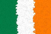 Ireland flag of many green, white, yellow shamrocks leaf. Decoration background for St. Patricks day. Vector illustration.