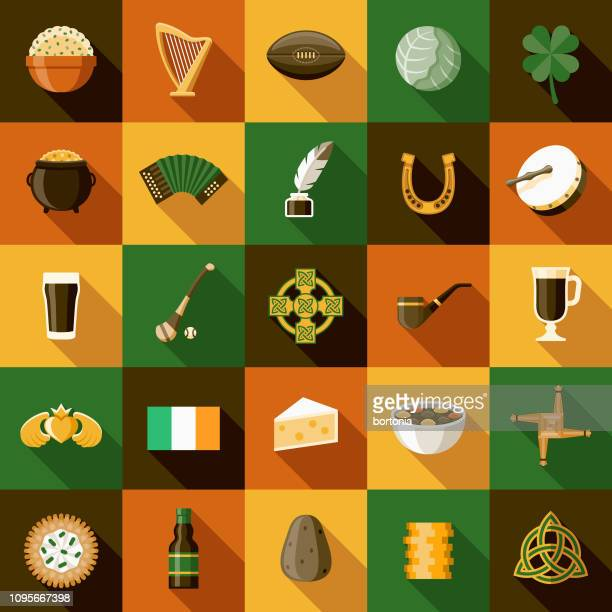 ireland icon sets - irish culture stock illustrations