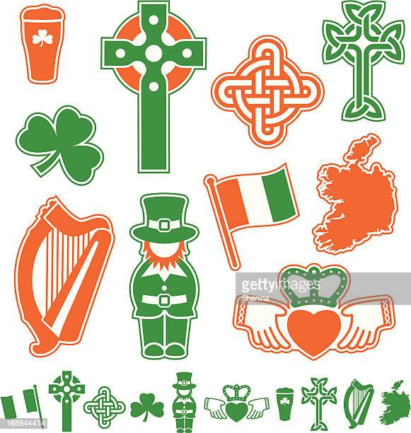 ireland icons - celtic cross stock illustrations, clip art, cartoons, & icons
