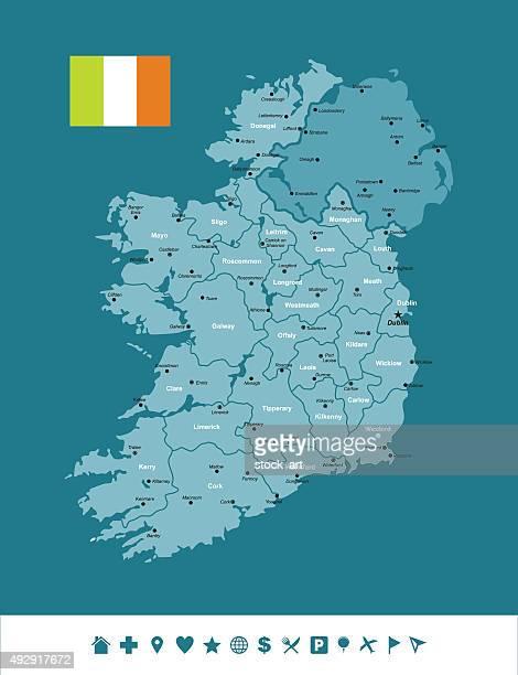 ireland infographic map - ireland stock illustrations