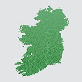 Ireland Island Map Green Hexagon Pattern