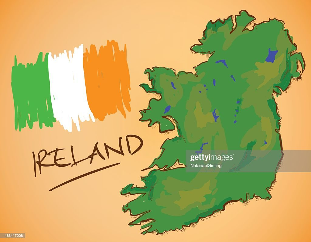 Ireland Map and National Flag Vector