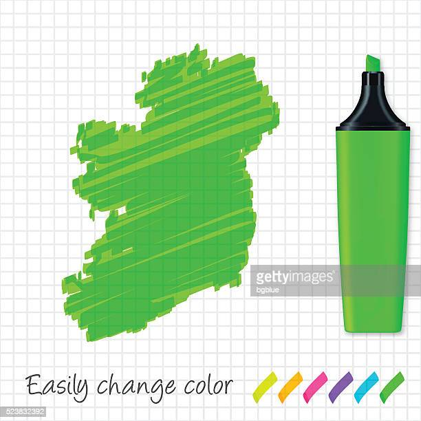 Ireland map hand drawn on grid paper, green highlighter
