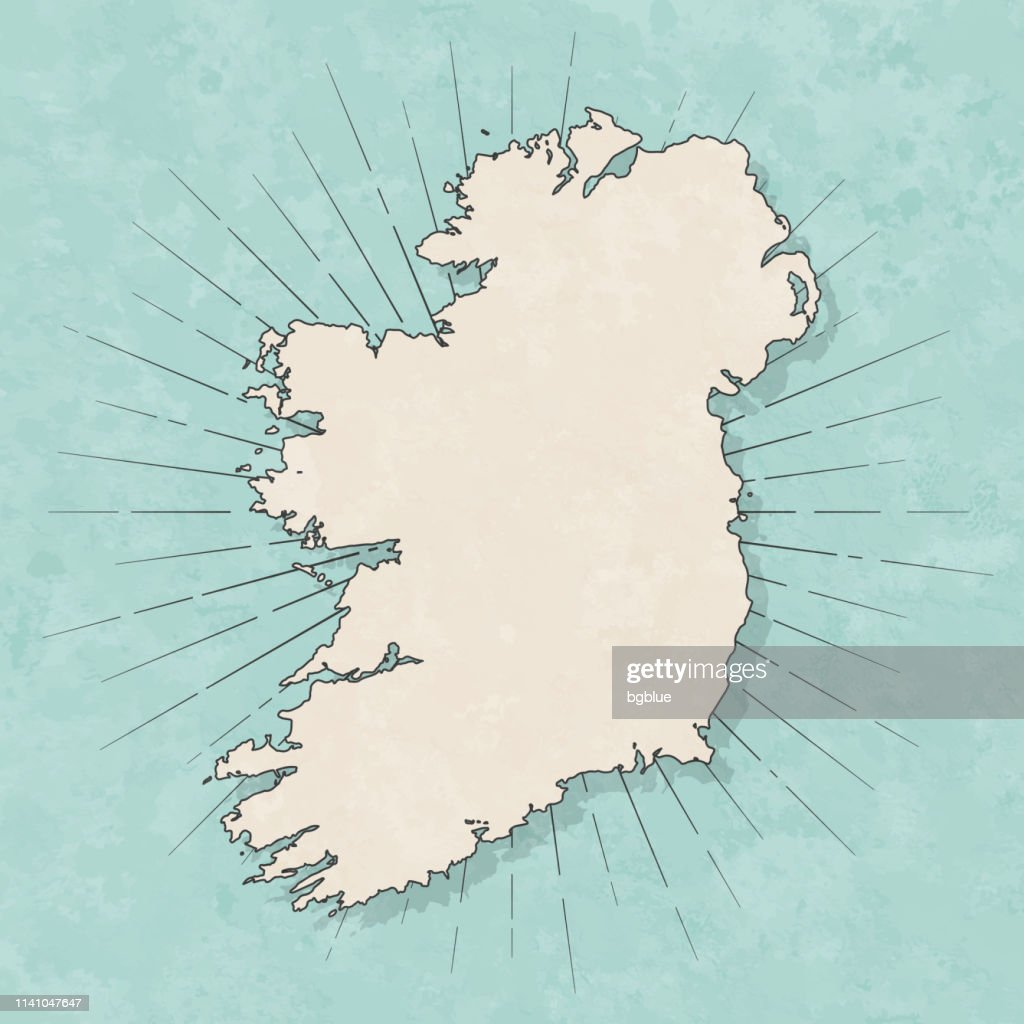 Ireland map in retro vintage style - Old textured paper : Stock Illustration