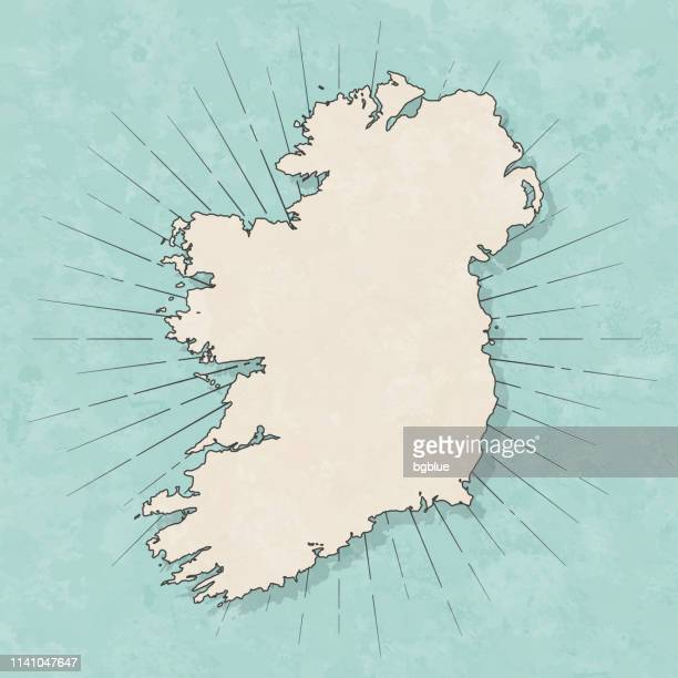ireland map in retro vintage style - old textured paper - ireland stock illustrations