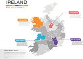 Ireland map infographics vector template with regions and pointer marks