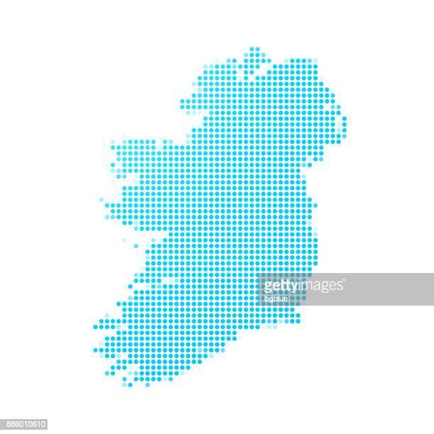 ireland map of blue dots on white background - ireland stock illustrations