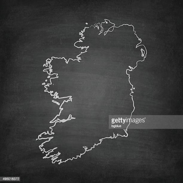 ilustrações, clipart, desenhos animados e ícones de irlanda mapa do quadro-negro, quadro-negro - dublin república da irlanda