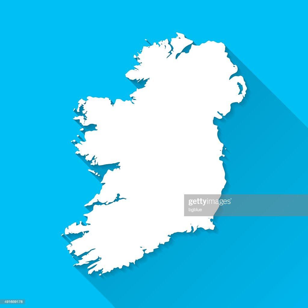 Ireland Map on Blue Background, Long Shadow, Flat Design