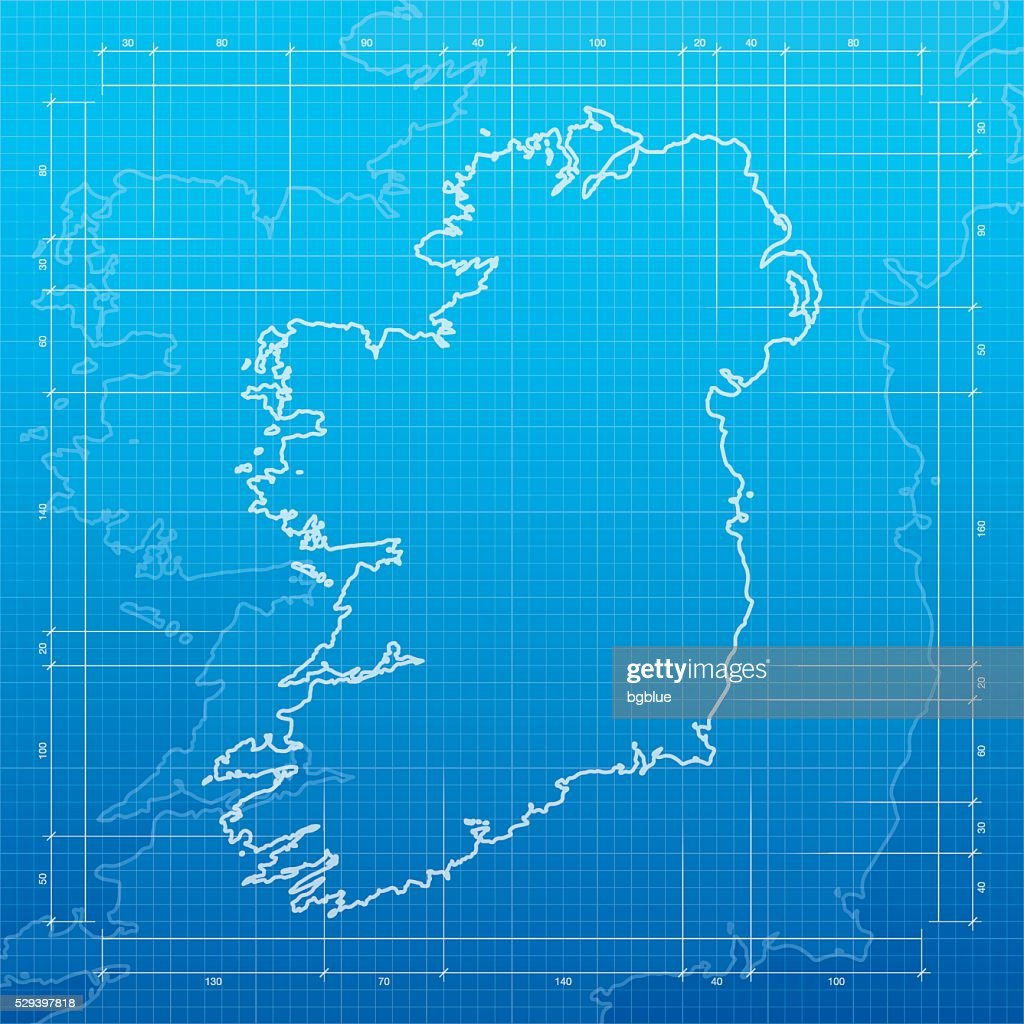 Ireland map on blueprint background vector art getty images ireland map on blueprint background vector art malvernweather Images