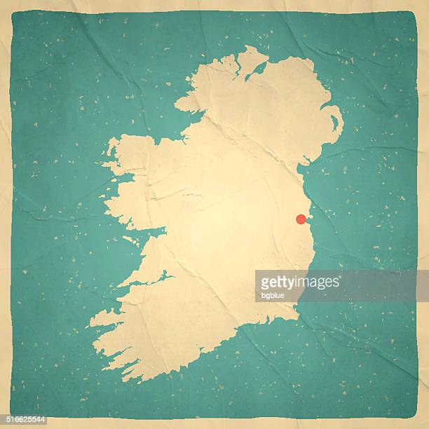 Ireland Map on old paper - vintage texture