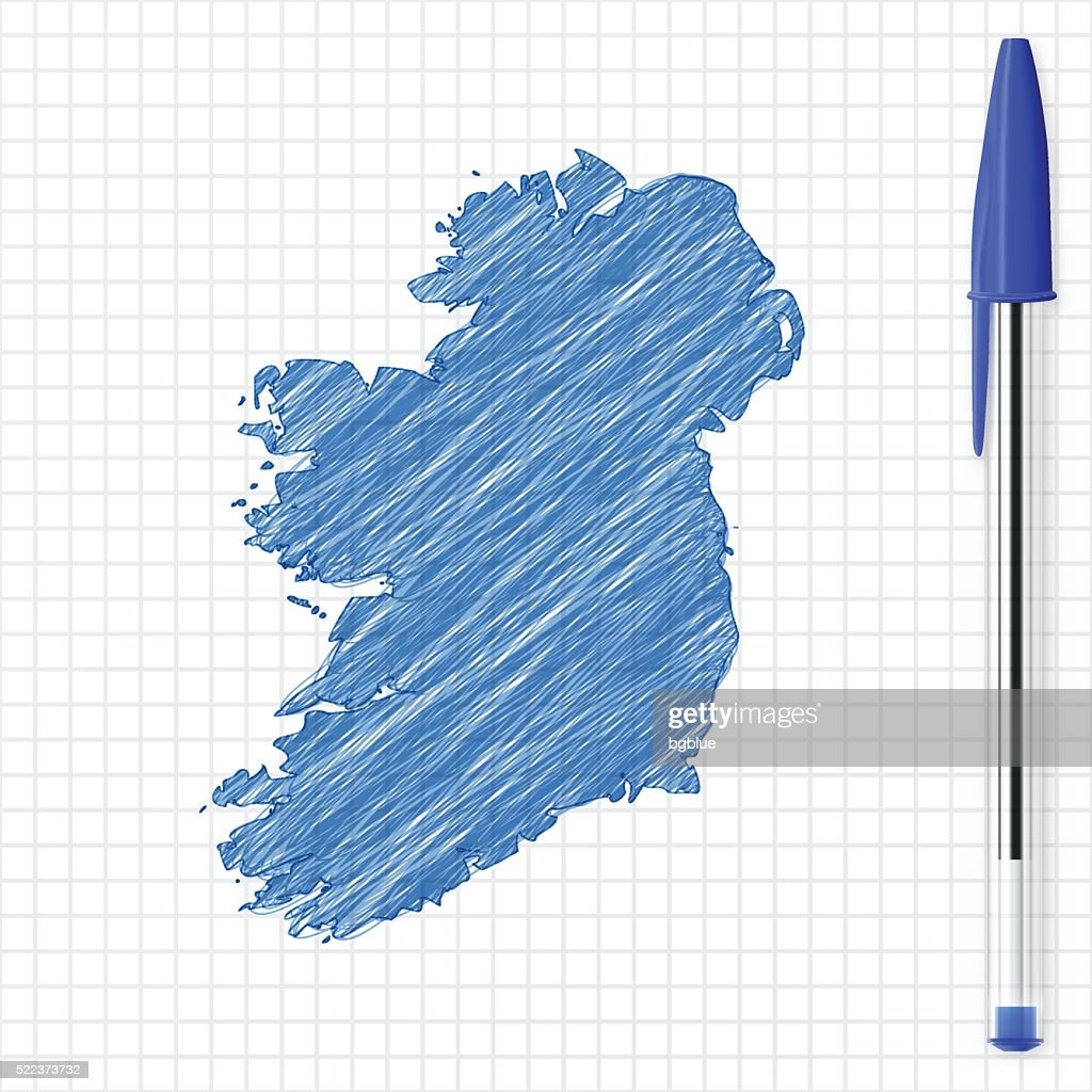 Sketch Map Of Ireland.Ireland Map Sketch On Grid Paper Blue Pen Stock Illustration Getty