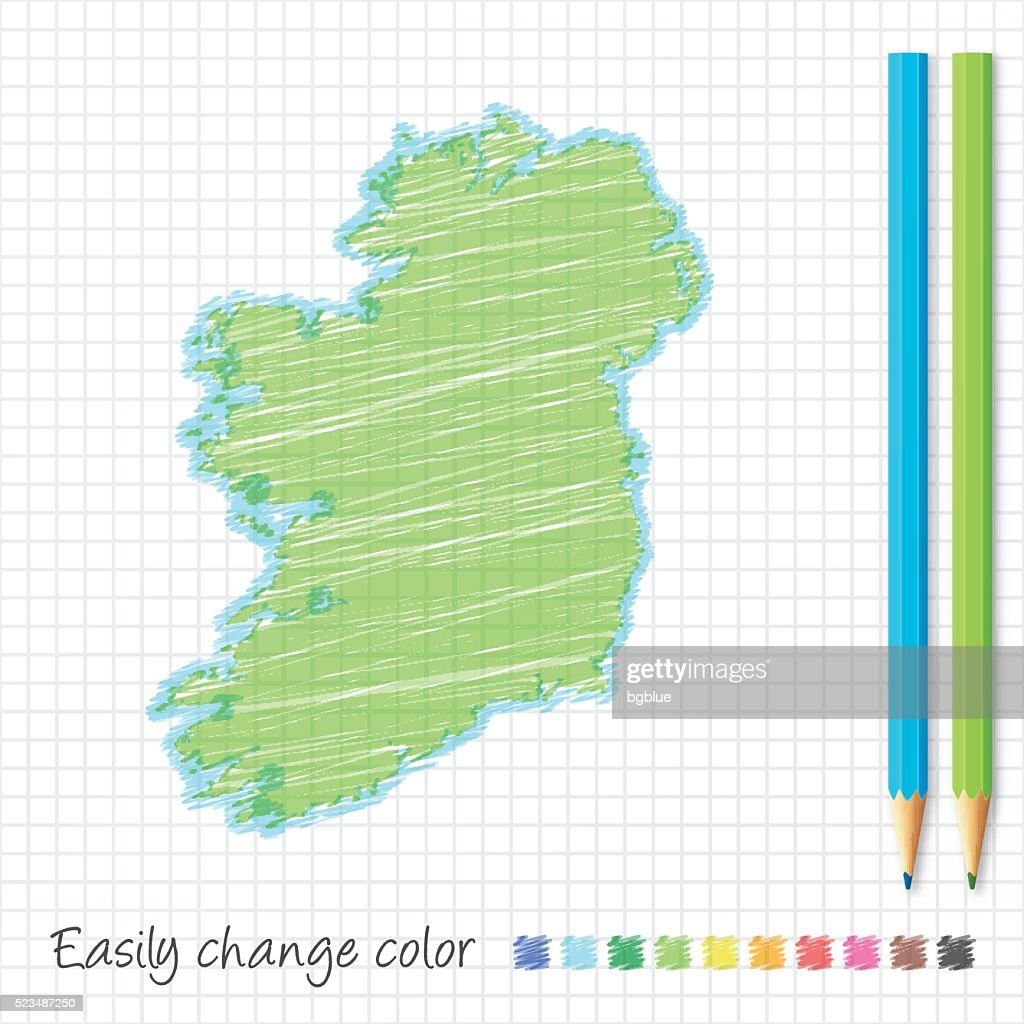 Sketch Map Of Ireland.Ireland Map Sketch With Color Pencils On Grid Paper Stock