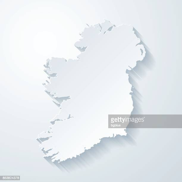 ireland map with paper cut effect on blank background - national border stock illustrations, clip art, cartoons, & icons