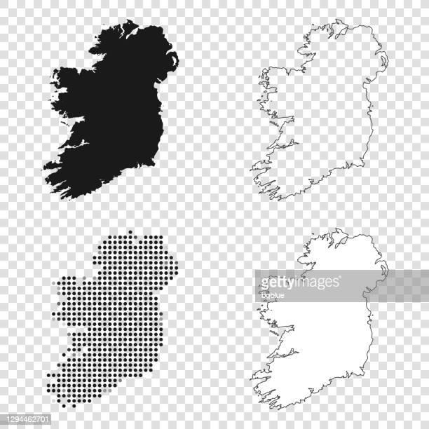 illustrazioni stock, clip art, cartoni animati e icone di tendenza di mappe irlandesi per il design - nero, contorno, mosaico e bianco - irlanda