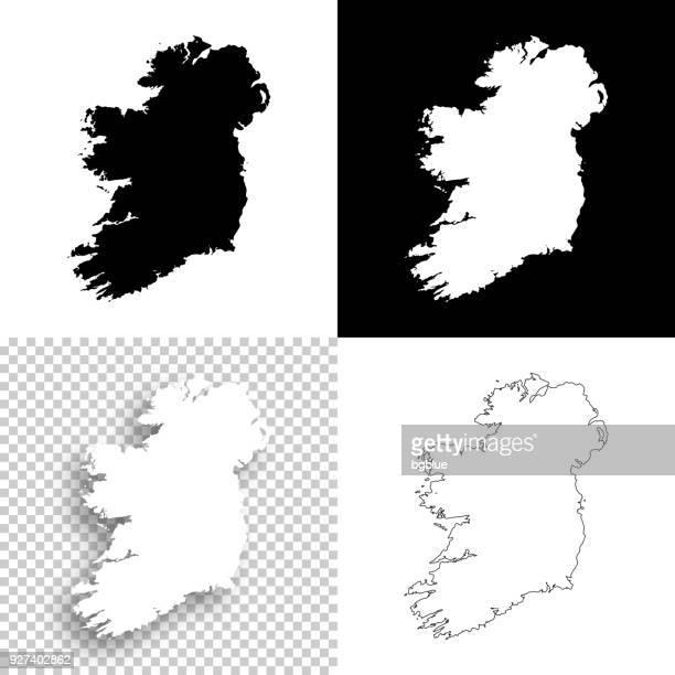 ireland maps for design - blank, white and black backgrounds - ireland stock illustrations