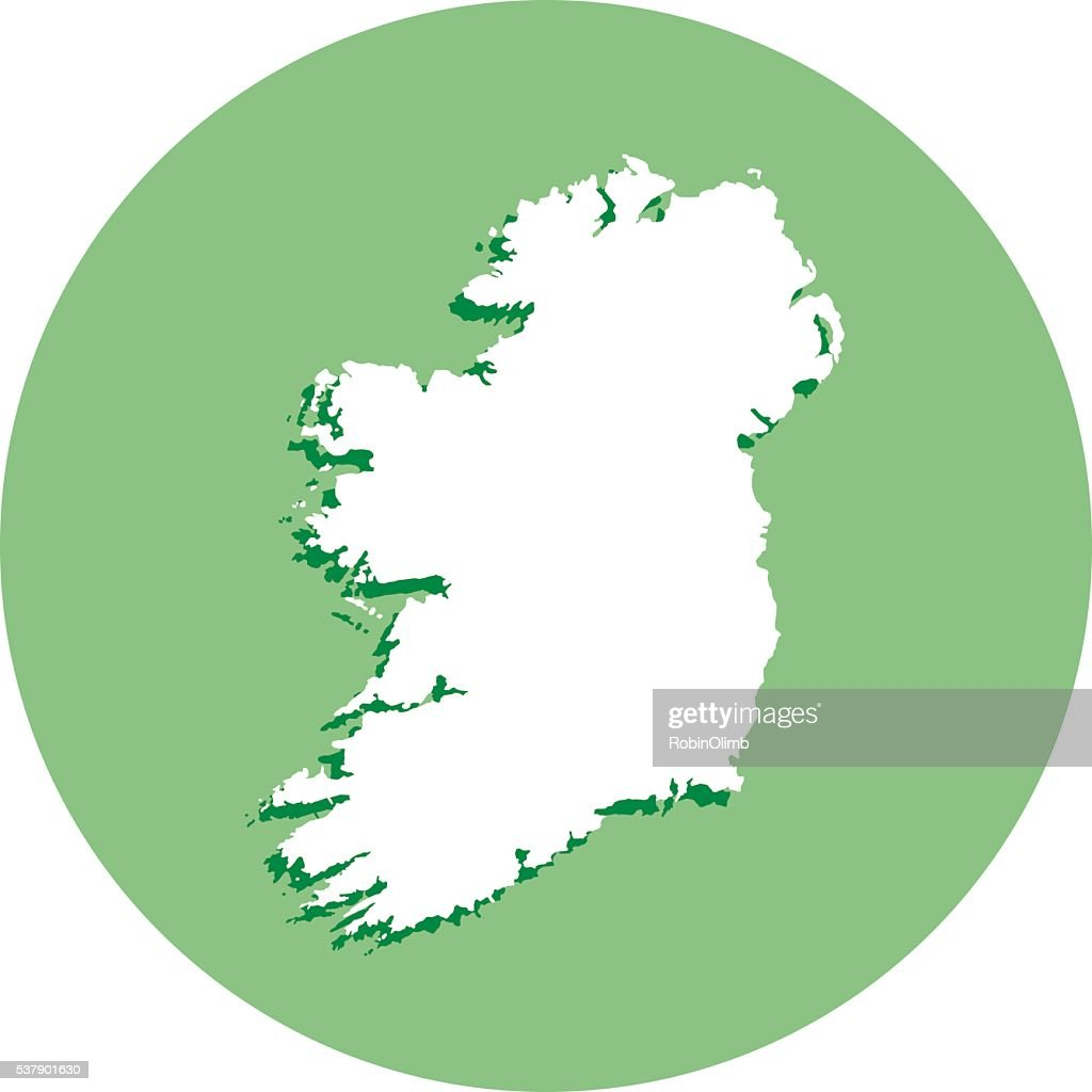 Ireland Round Map Icon