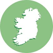 Ireland Round Map Icon