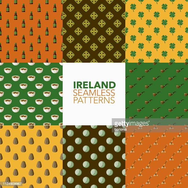 ireland seamless patterns - beef stew stock illustrations, clip art, cartoons, & icons