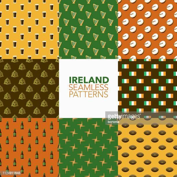 ireland seamless patterns - celtic cross stock illustrations, clip art, cartoons, & icons