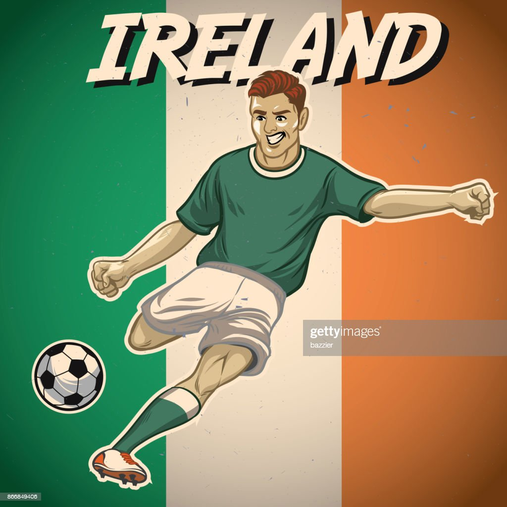 ireland soccer player with flag background