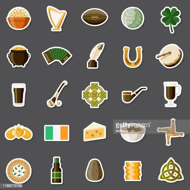 ireland sticker set - whiskey stock illustrations