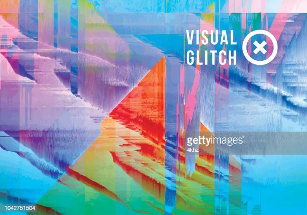 Iridescent Colored Digital Glitch Abstract Grunge Background