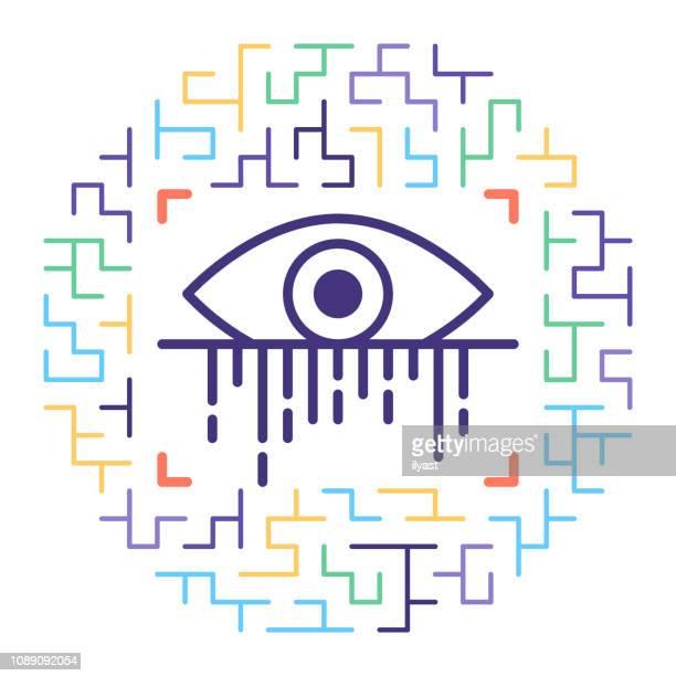 ilustrações, clipart, desenhos animados e ícones de algoritmos de reconhecimento de íris vetor linha icon ilustração - exame de vista exame médico