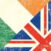 Irish and UK grunge flag