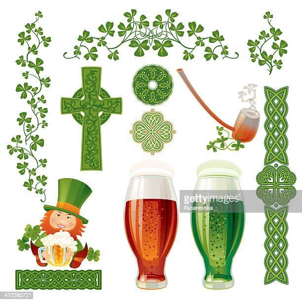 irish design elements - celtic cross stock illustrations, clip art, cartoons, & icons