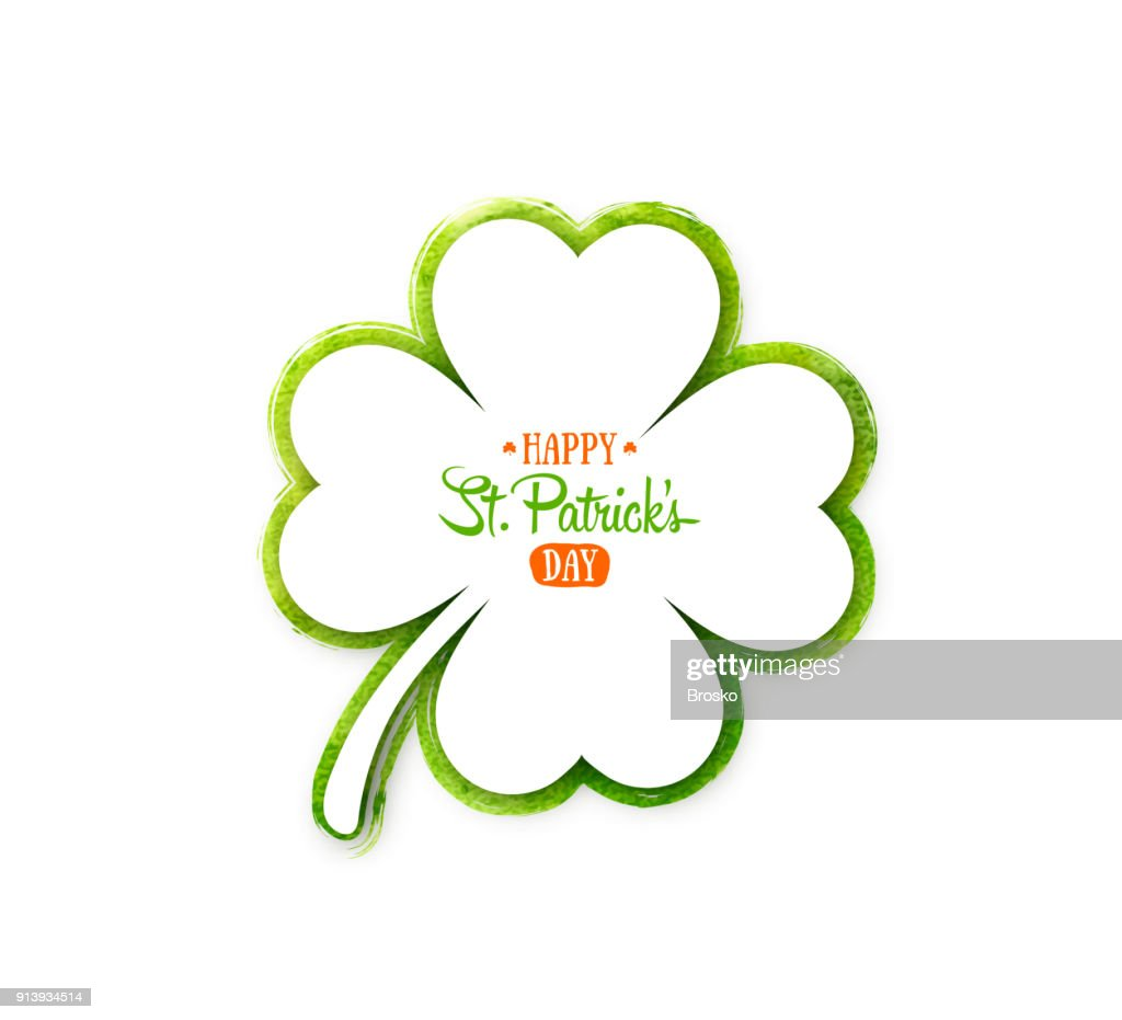 Irish holiday Saint Patrick's Day. White quatrefoil clover on green watercolor background.