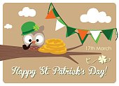 irish owl with gold coins and bunting flags